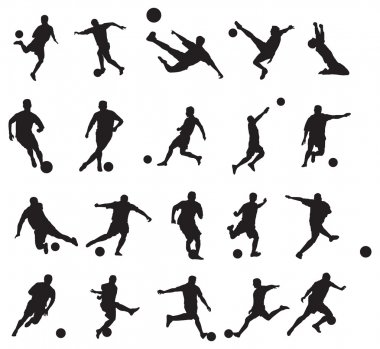 20 soccer poses silhouette