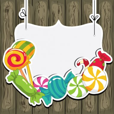 Sweets on strings on the wooden background. Vector illustration. stock vector