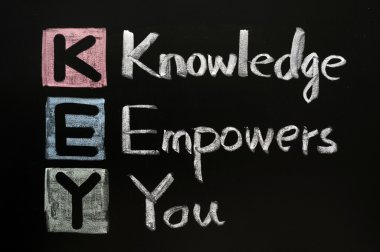 KEY acronym - Knowledge empowers you on a blackboard with words written in