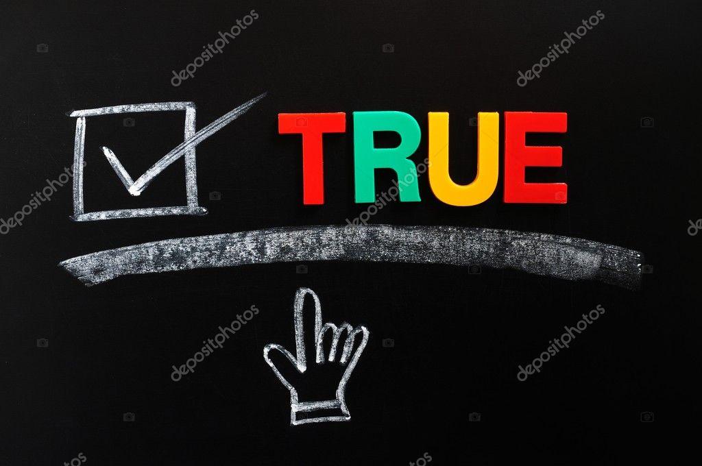 Verdadero Con Un Tick Y Mano Cursor Foto De Stock Bbbbar 8984476