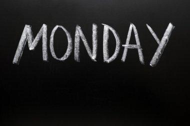 Monday written on a blackboard