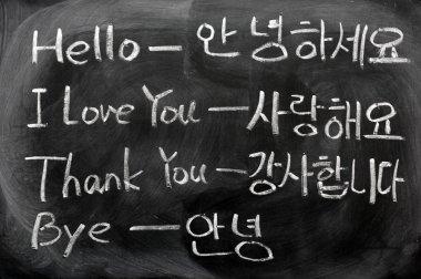 Learning Korean language on a blackboard