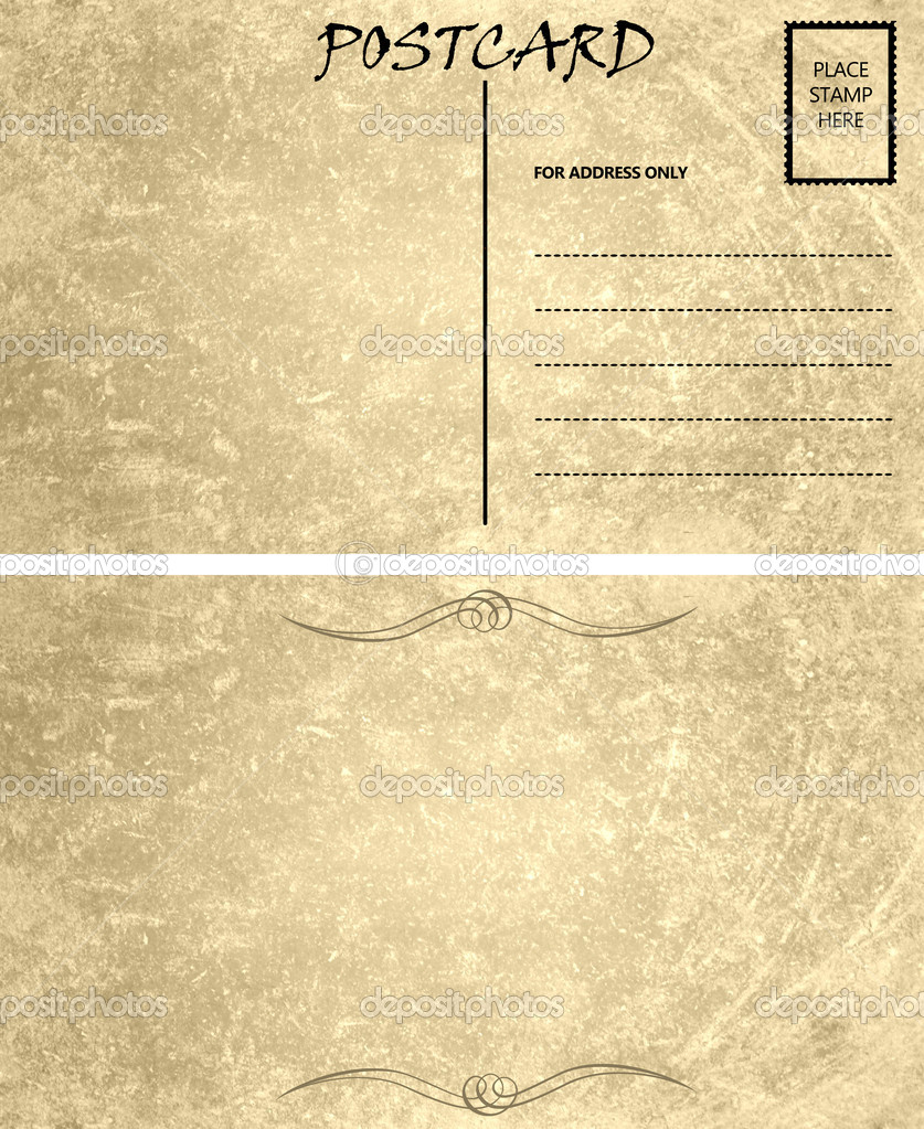 postcard template front and back Vintage Empty Blank Postcard Template Front and Back — Stock Photo ...