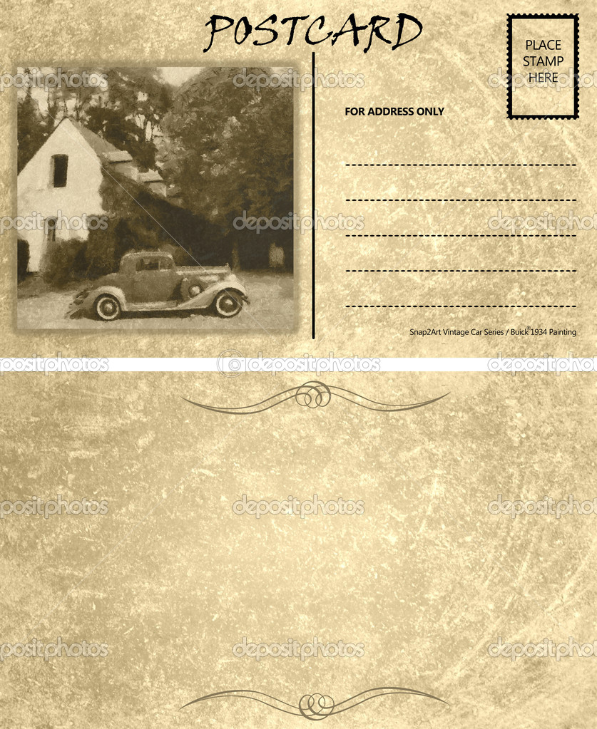 vintage empty blank motor car postcard template front back stock