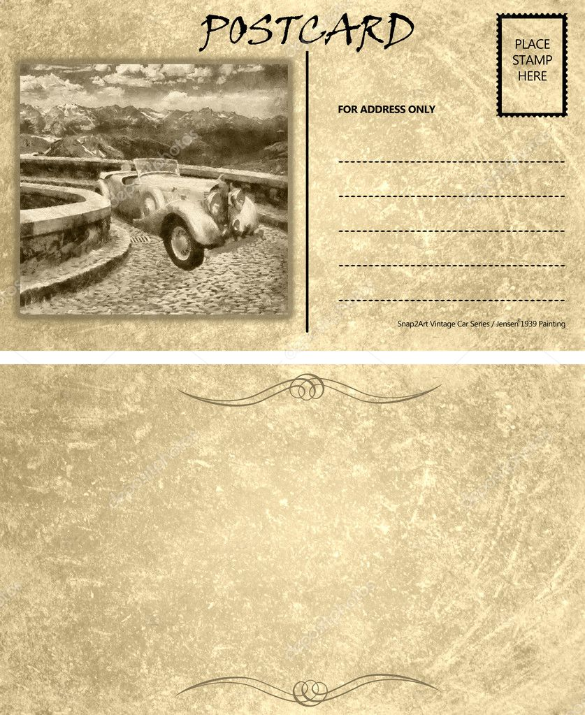 vintage empty blank motor car postcard template front back stock photo cd123 10147285. Black Bedroom Furniture Sets. Home Design Ideas