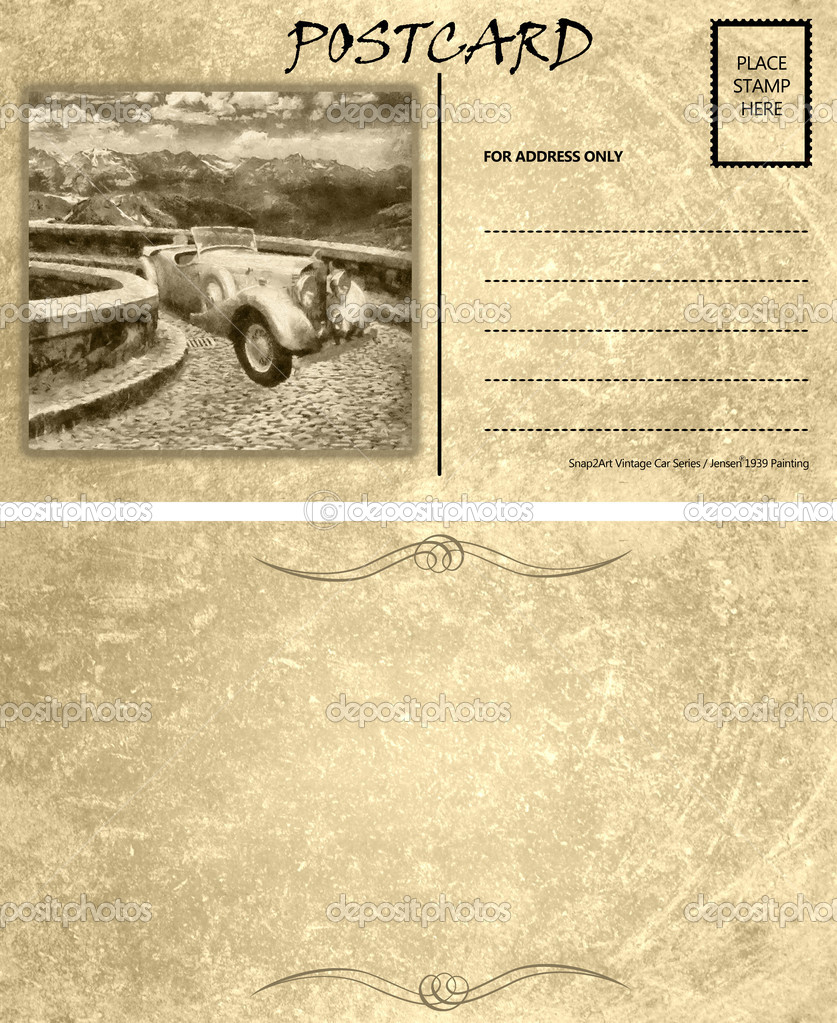 vintage empty blank motor car postcard template front back stock