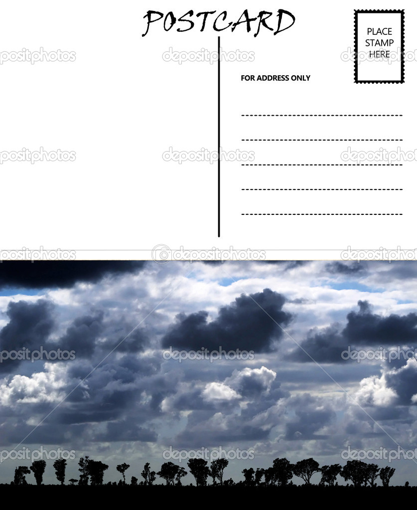 Empty Blank Postcard Template Africa Cloudy Sky Image — Stock Photo ...