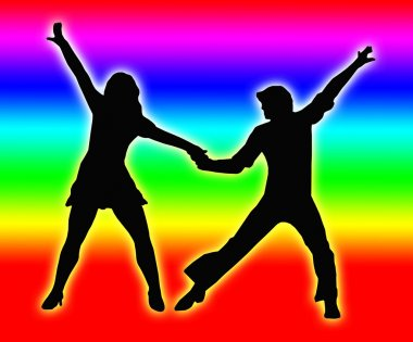 Color Bands Back Dancing Couple 70s