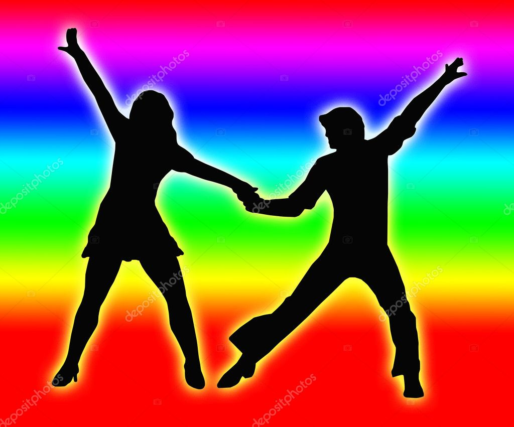 Color Bands Back Dancing Couple 70s — Stock Photo © CD123