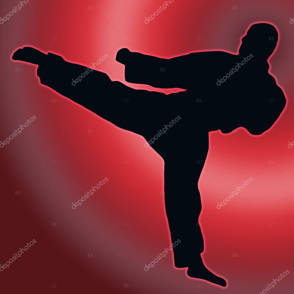 Red Back Sport Silhouette - Karate Kick
