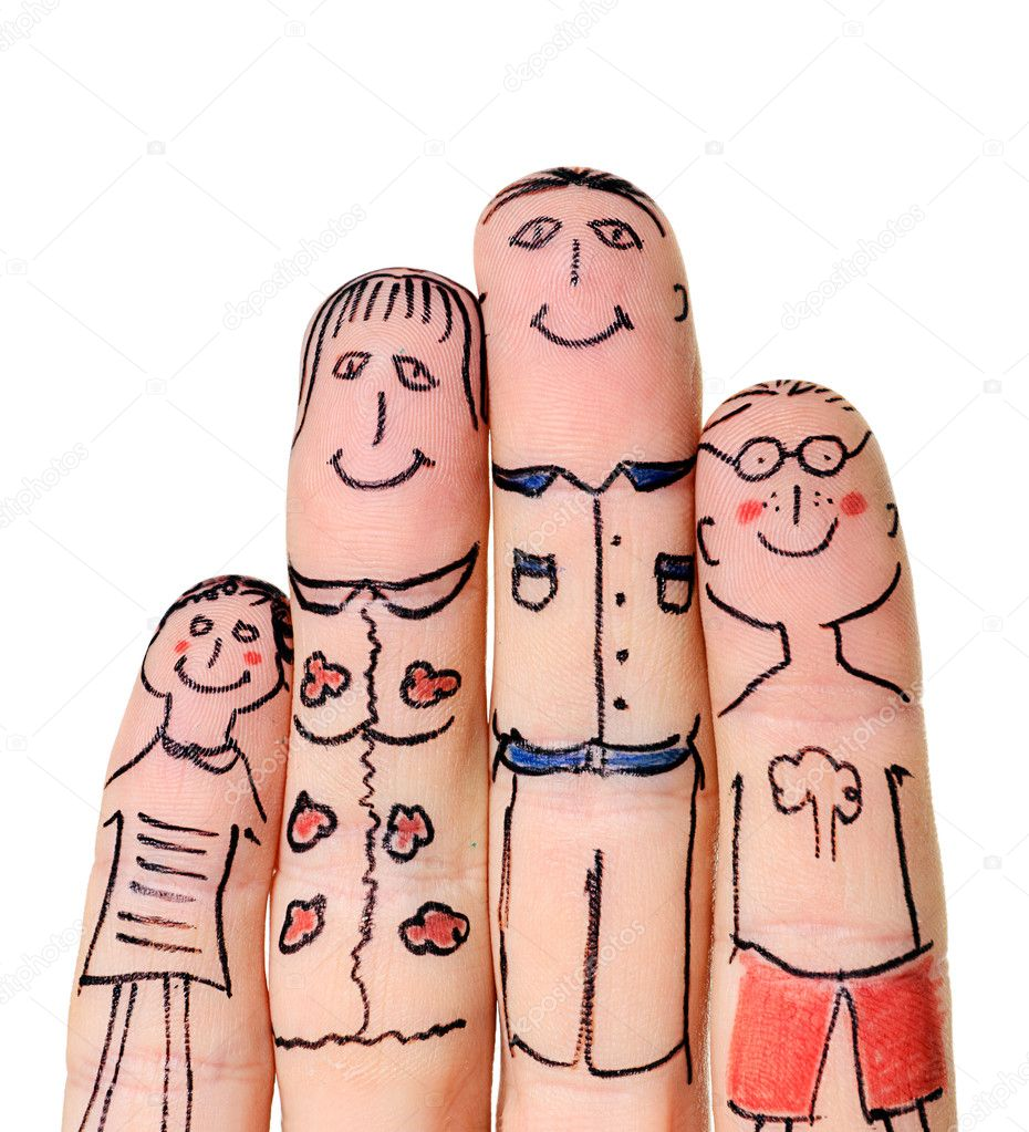 Fingers Family isolated on white background stock vector