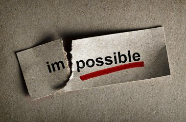 Word impossible transformed into possible. Motivation philosophy concept stock vector