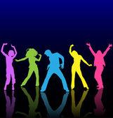 mužský a ženský tanec barevné siluety s odrazy na