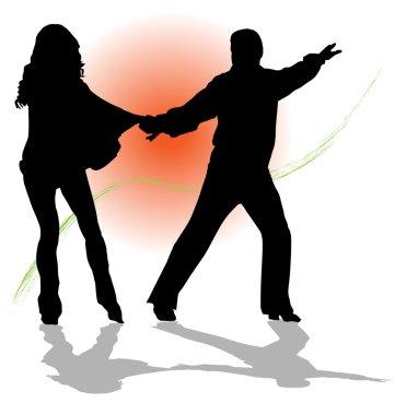 Vector couple dancing tango illustration.