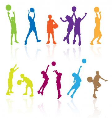 Silhouettes of children jumping and playing basketball with refl