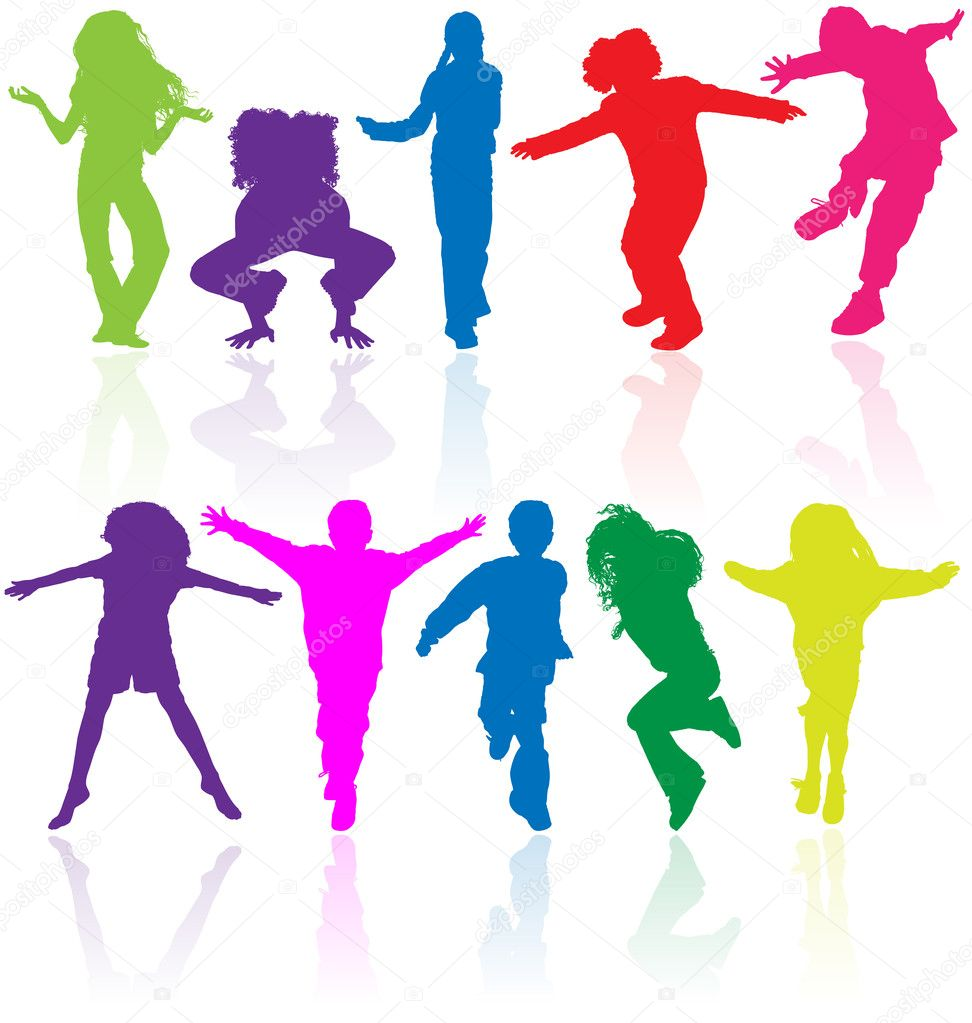 set of colored active children vector silhouettes with reflectio