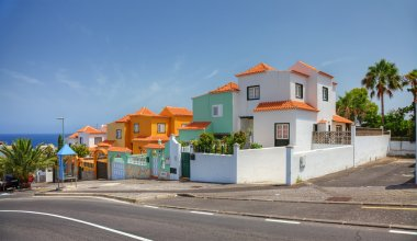 Street with modern villas, Tenerife island, Spain.