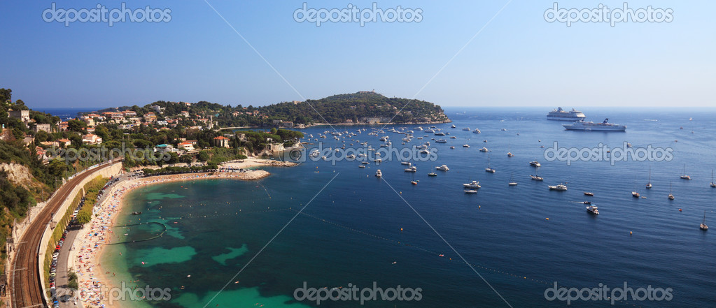 Panoramic view of a beatufil bay near harbor of the city of Nice