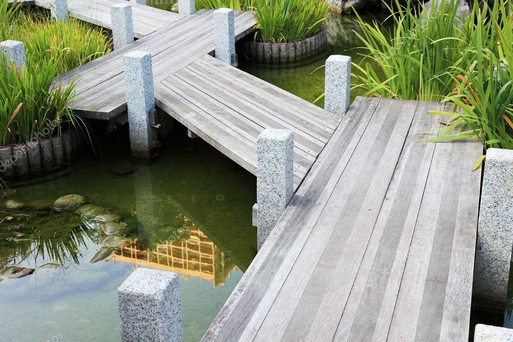 Wooden walkway in japanese garden in Monaco, Europe.
