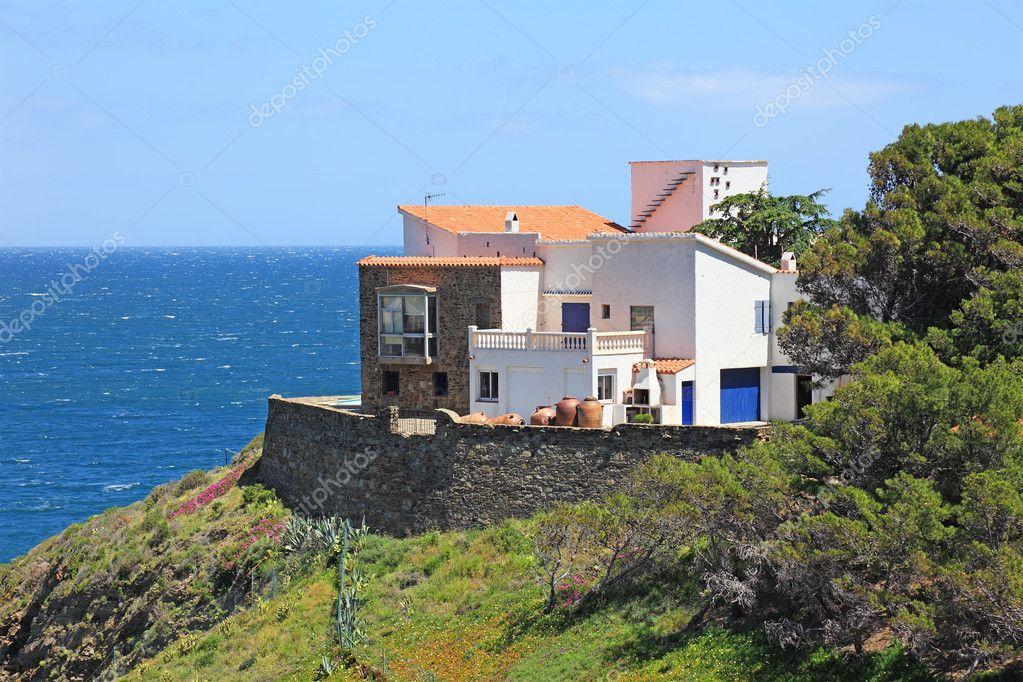 Typical real estate of mediterranean seashore, Cerbera village,