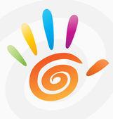 abstraktní vektorová barevné spirály ruku s prsty.