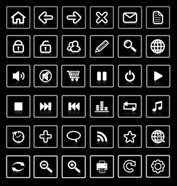 Collection of vector internet icons and buttons. Good for browse