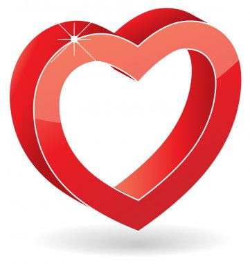 3D vector glossy red heart with shadow isolated on white background. clip art vector