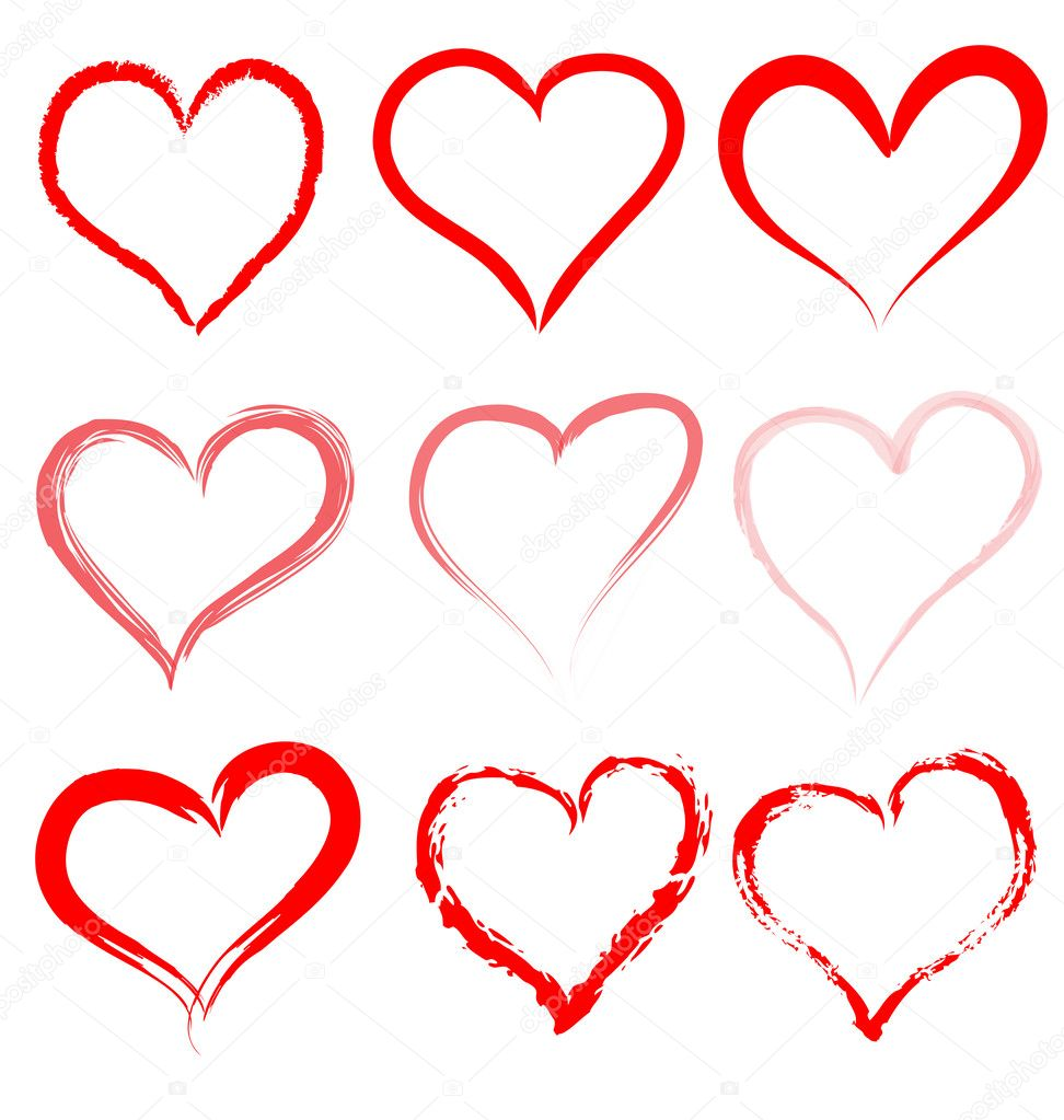 collection of red artistic hand drawn hearts heart shape outline