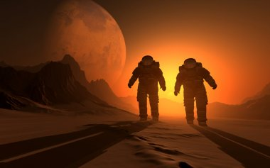 Silhouette of the astronauts o