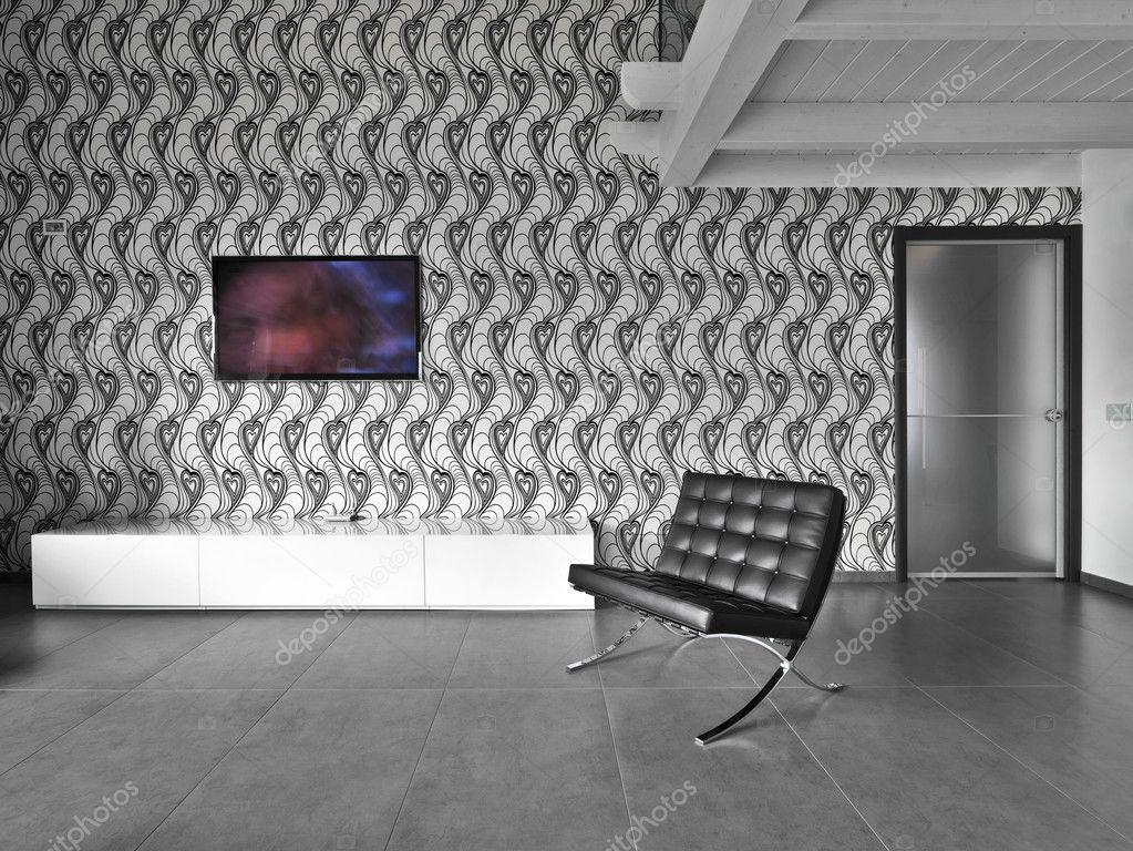Lederen Fauteuils Modern.Moderne Woonkamer Met Lederen Fauteuil Stockfoto C Aaphotograph
