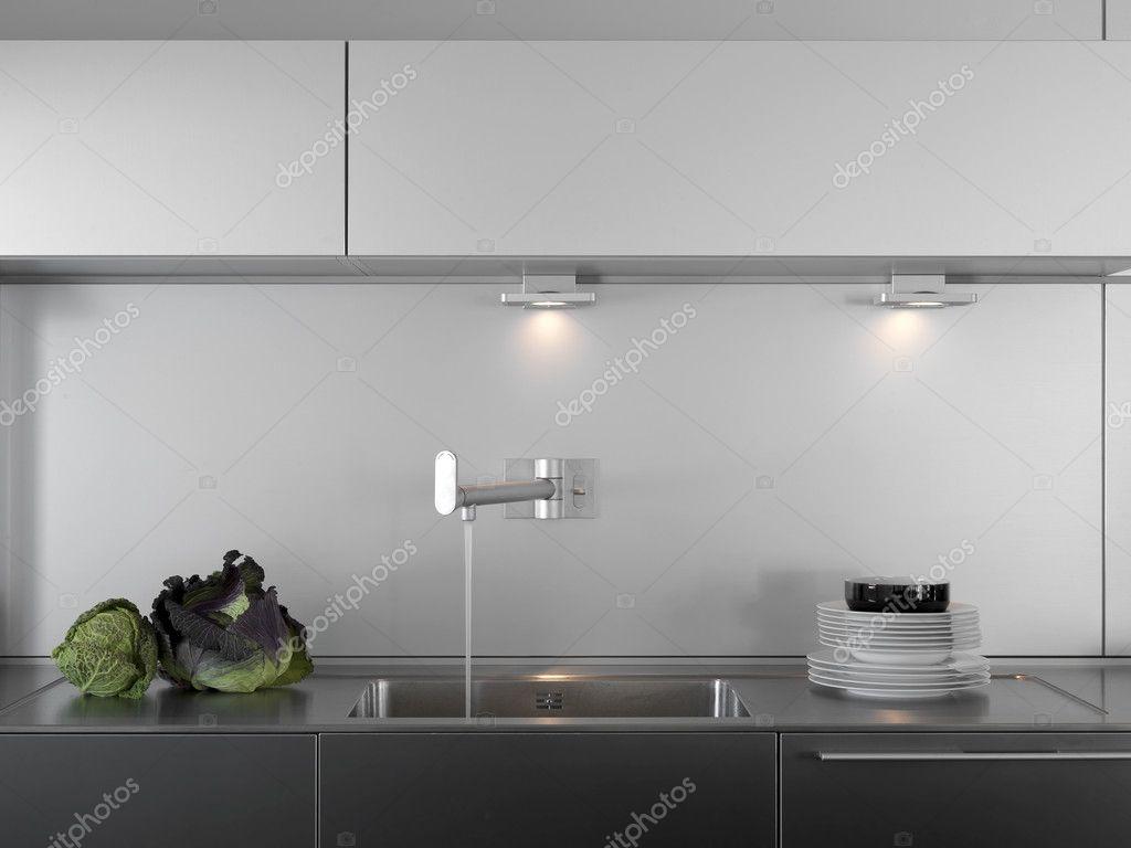 detalle del fregadero en una cocina moderna — Foto de stock ...