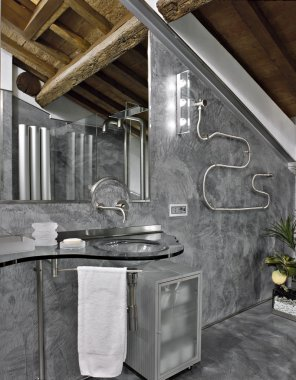 Modern bathroom in the attic room