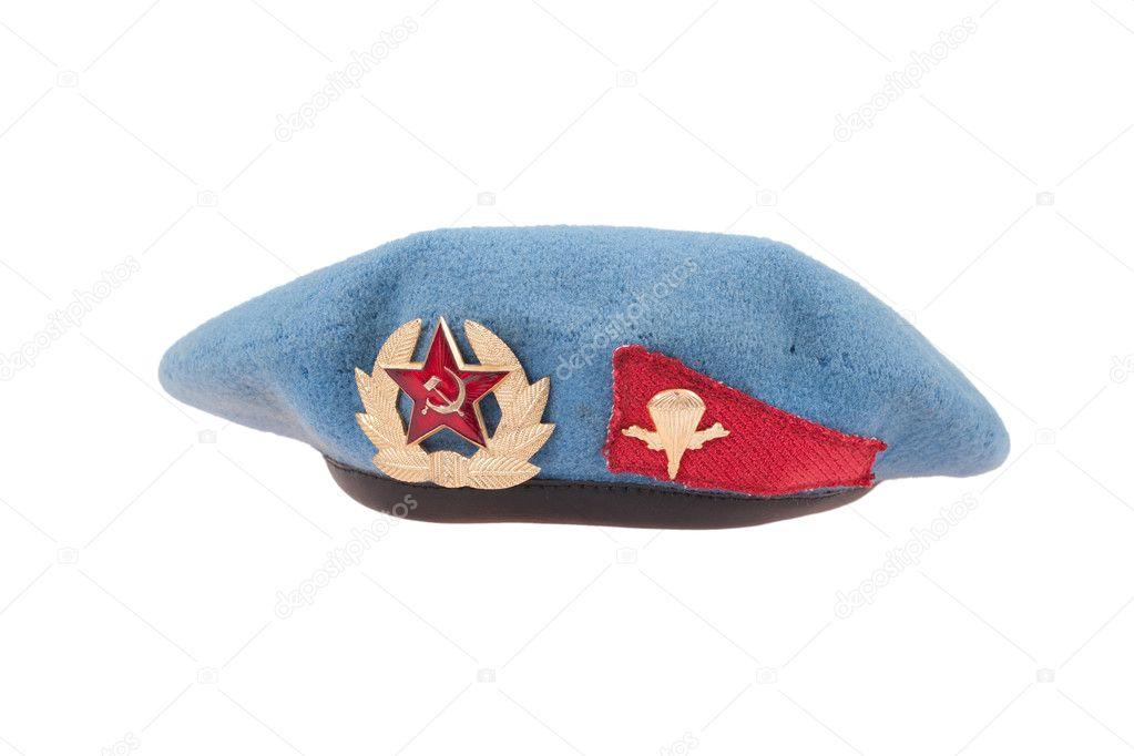 442f7ac6f22 Sovětské armády vzdušné síly modrý baret izolovaných na bílém pozadí– stock  obrázky