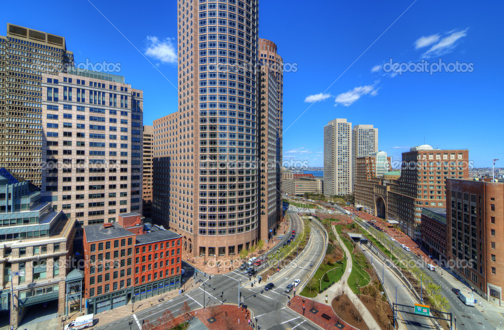 High rises along Atlantic Ave. in the financial district of Boston, Massachusetts.