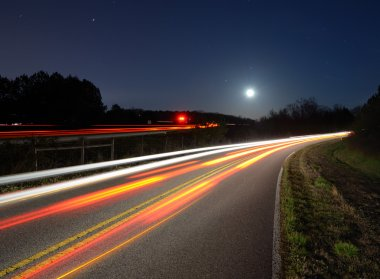 Traffic on the road at night