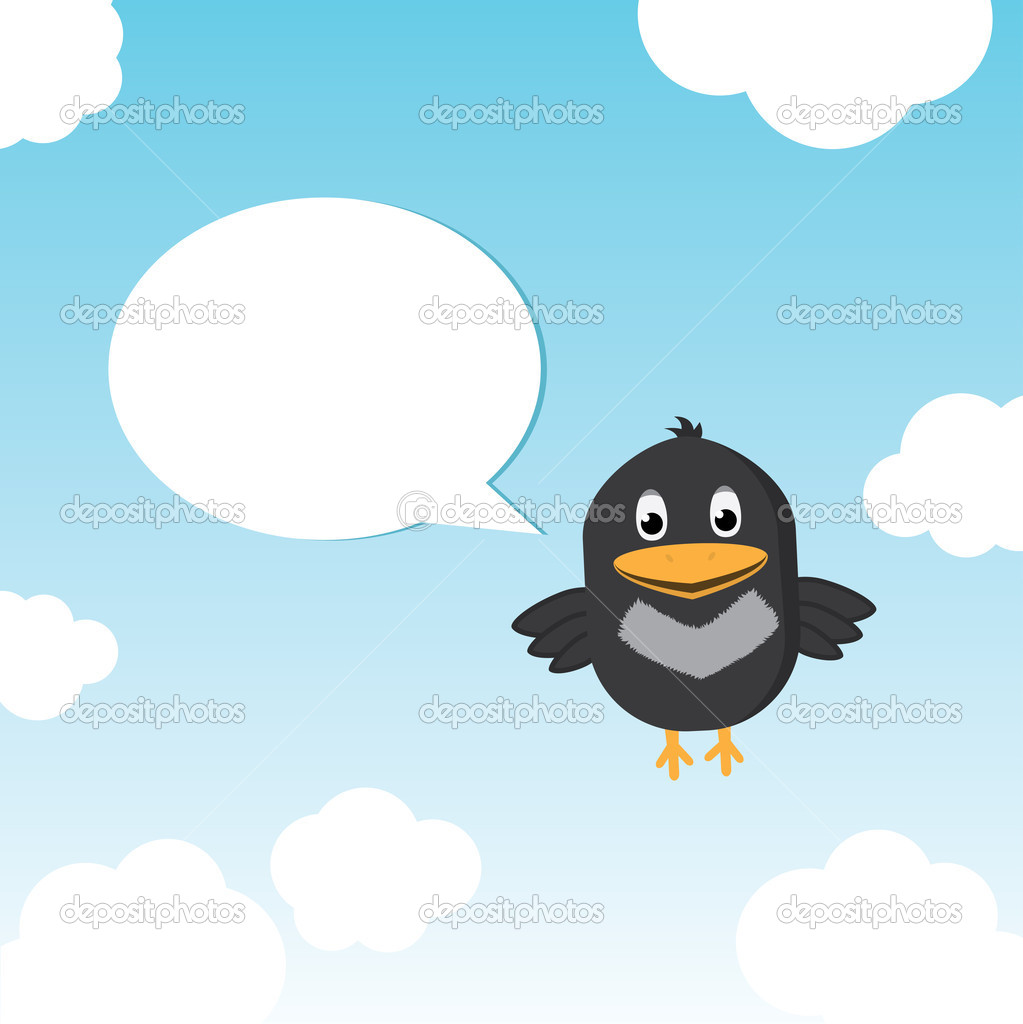 Funny Bird Twitting In The Sky