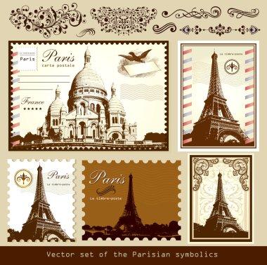 Vector set: symbols of Paris and calligraphic design elements clip art vector