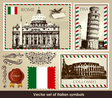Vector set of Italian symbols