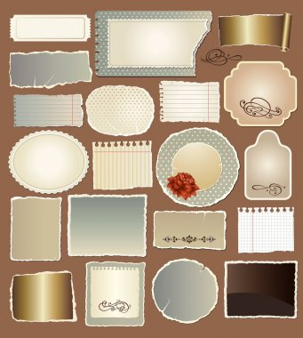 Vector set of various vintage papers