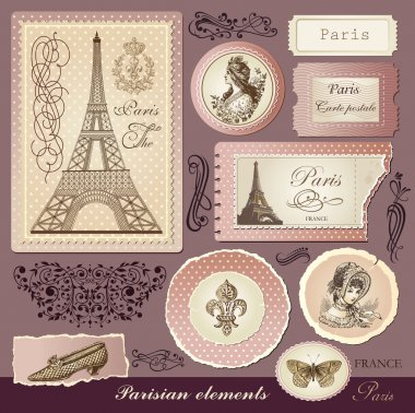 Vector set: symbols of Paris and calligraphic design elements