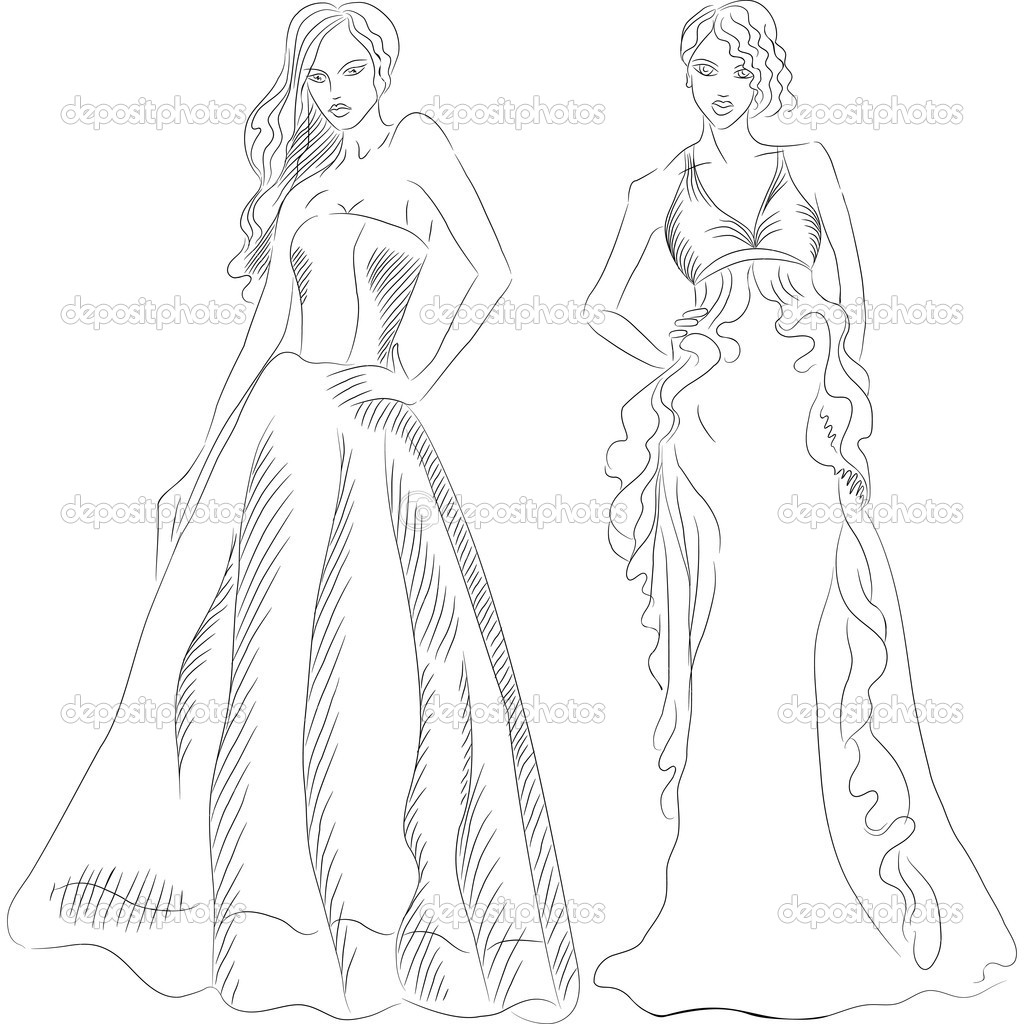 Vector Set Of Fashion Top Model In A Evening Dresses