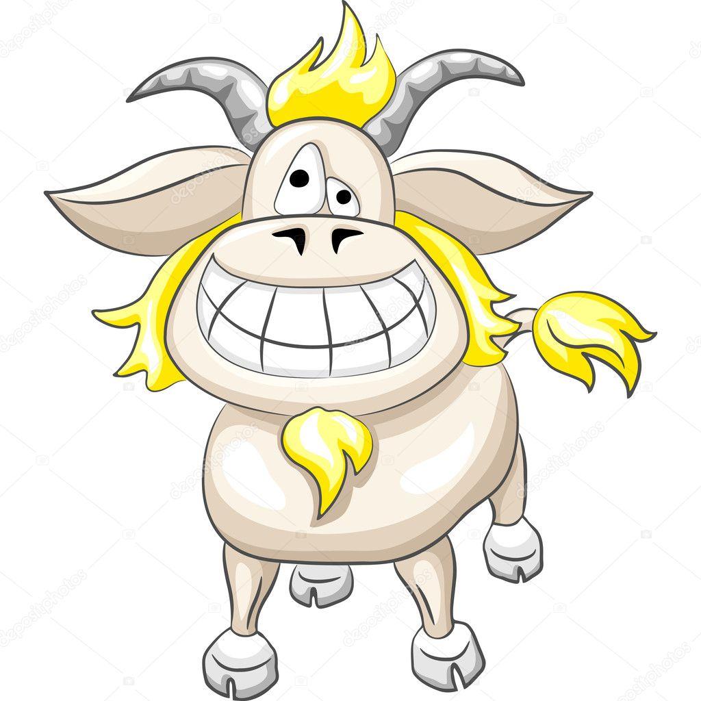 Sorriso di capra divertente cartone animato vettoriale