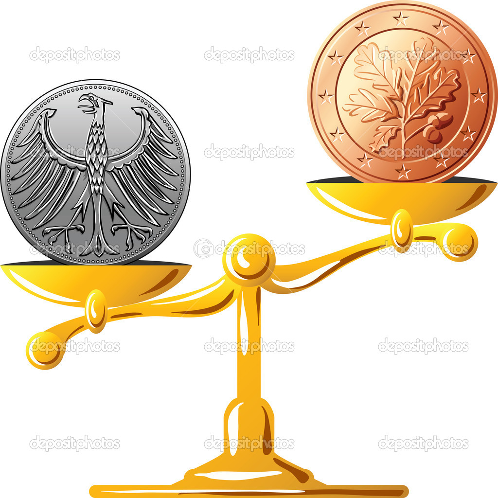 Vector german mark versus the euro stock vector olgacov 8755336 concept of an old german coin mark and coin euro on the gold scales vector by olgacov buycottarizona