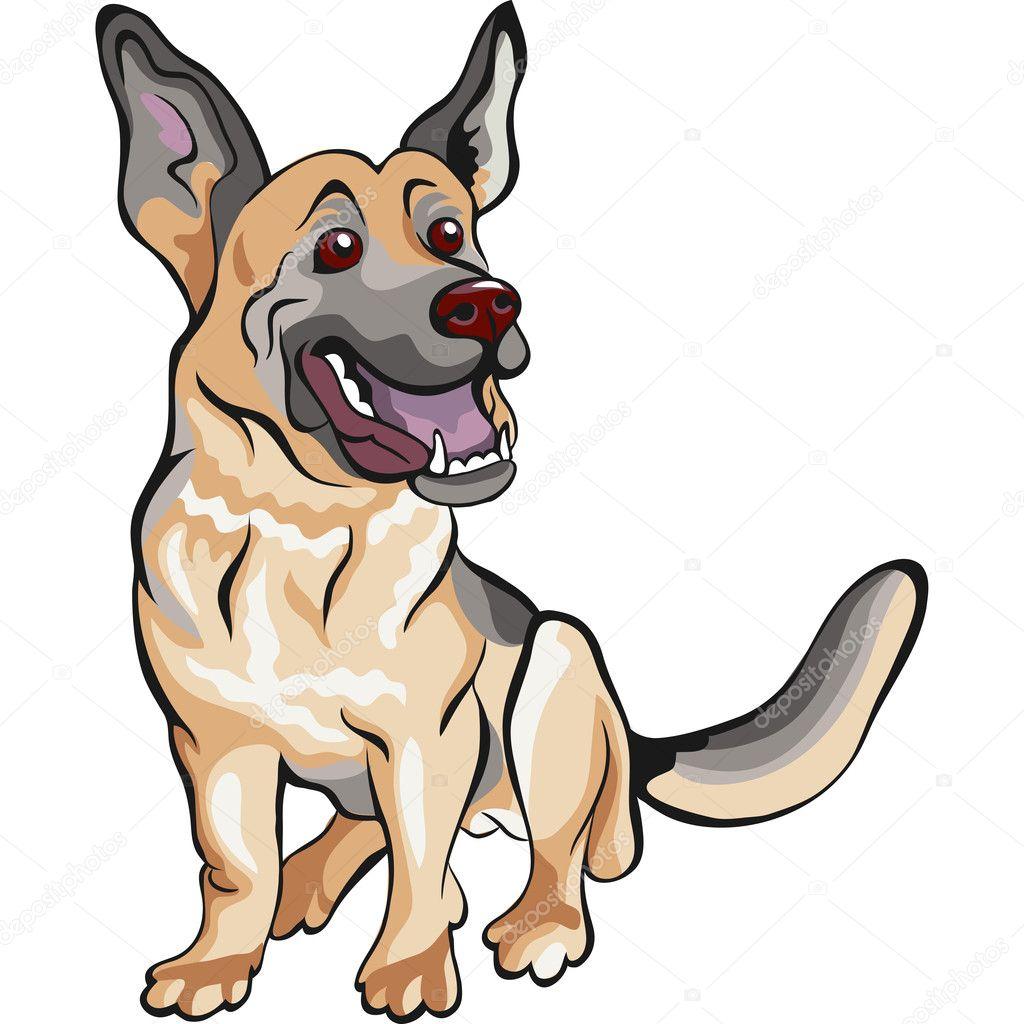 矢量卡通狗德国牧羊犬品种 — 图库矢量图像 olgacov