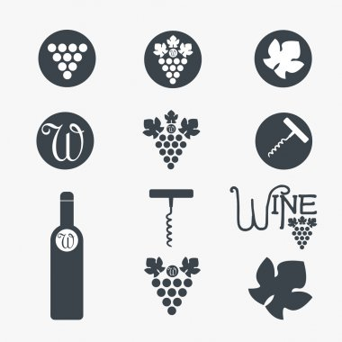 Wine theme icons. Vector