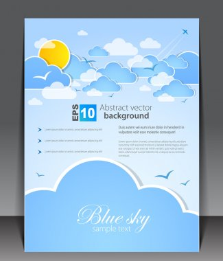Blank with clouds and sun. eps 10 clip art vector