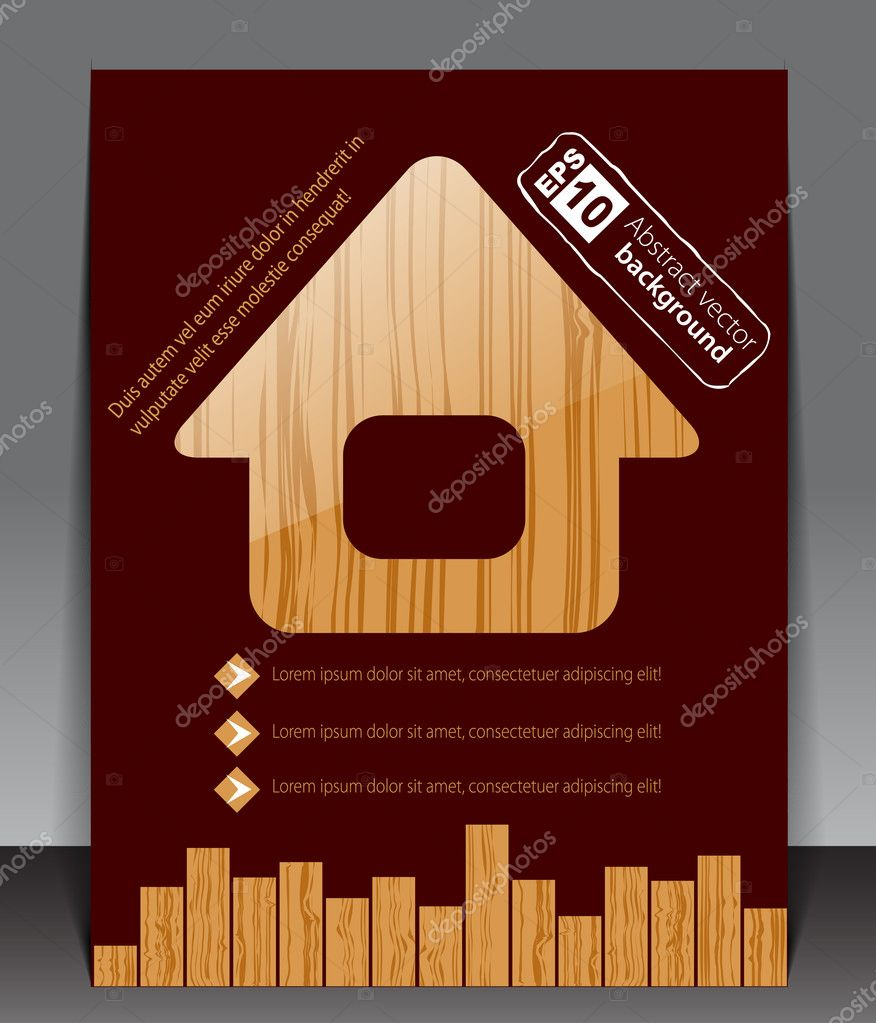 Wooden blank with house icon. Vector