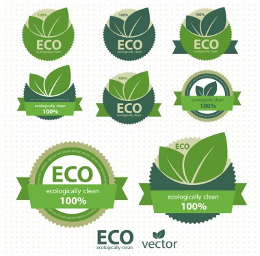 Eco labels with retro vintage design. Vector