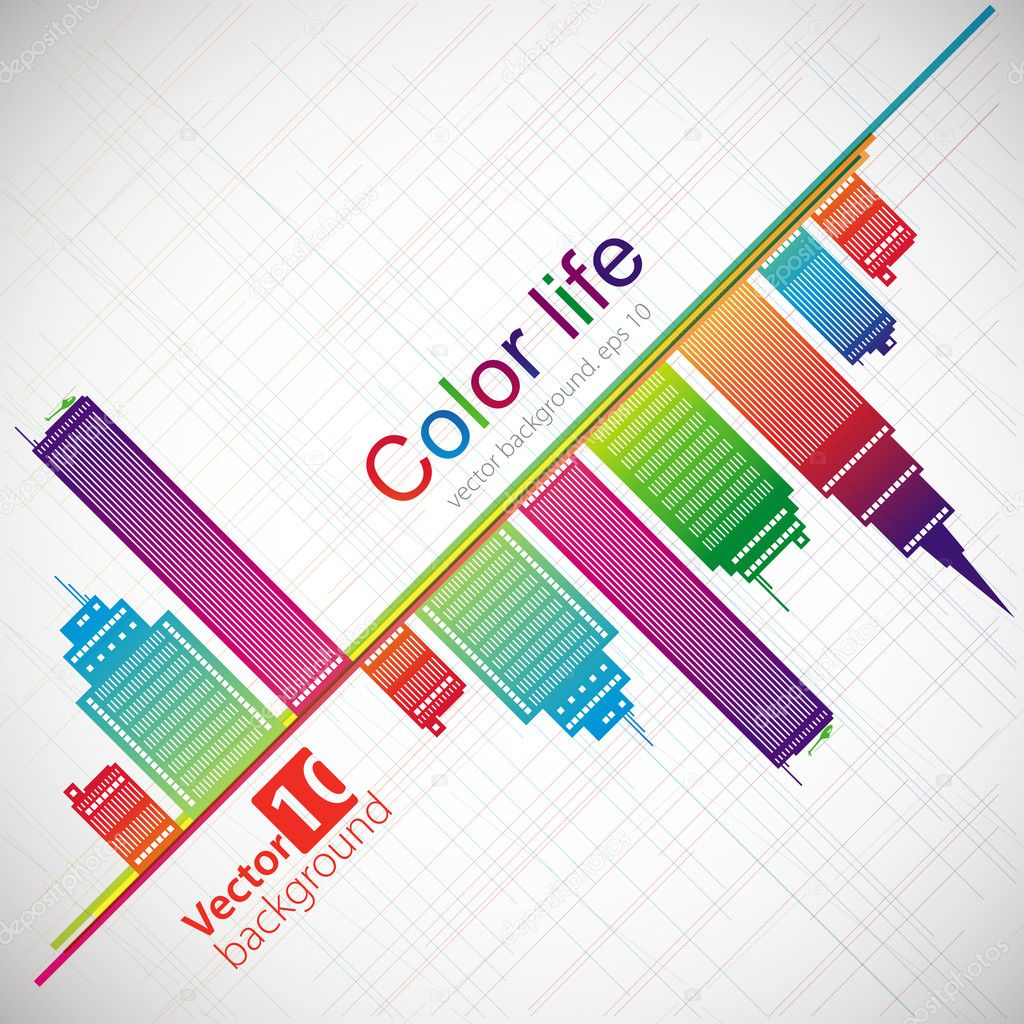 Abstract color background. City theme. Vector
