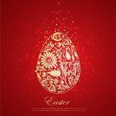 Fotografia uovo di Pasqua dorata floreale. Vector